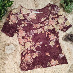 UO Kimichi Blue Shear Maroon Floral Lace Top